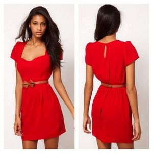 Red Tulip Dress With Sweetheart Neck And Bow Belt